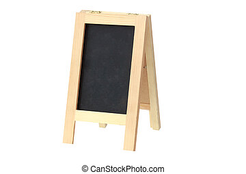 wooden menu board on white background with clipping path