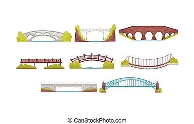 Wooden, Metal and Stone Bridges Collection, Urban Architecture Design Element Vector Illustration