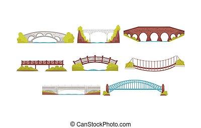 Wooden, Metal and Stone Bridges Collection, Urban Architecture Design Element Vector Illustration