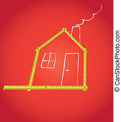 wooden meter compound as house outline - illustration