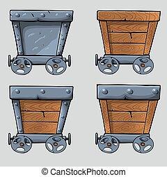 wooden mine cart set