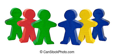 Wooden Miniature Figures on White Background
