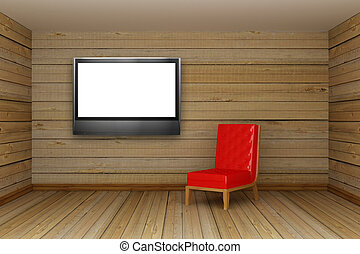 wooden minimalist living room with red chair and LCD tv