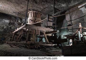 Wooden mining machine powered by horses, Wieliczka, Poland