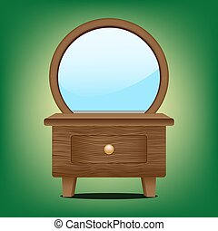 Wooden mirror cabinet on the green background