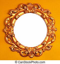 Wooden mirror - Close up shot of round wooden mirror
