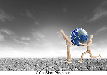 Wooden model carry on earth