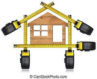 Wooden Model House - Tape Measures Tools