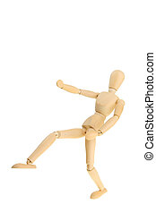 Wooden model in fighting pose