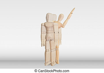 Wooden model in the crowd for human resource concept