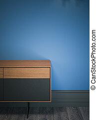Wooden modern cabinet. 3d rendering