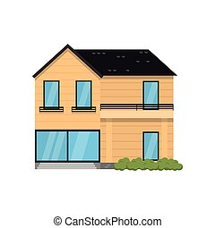 Wooden modern two-story house isolated on white background. ...