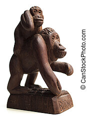 Wooden monkey statue. Souvenir from Tanjung Puting National...