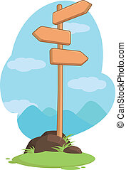 Wooden Mountain Guidepost Sign - A vector image of a wooden...