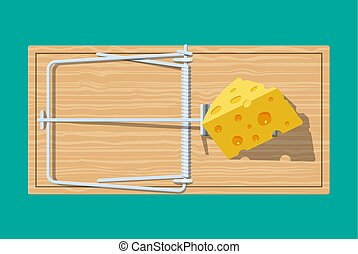 Wooden mouse trap with cheese,