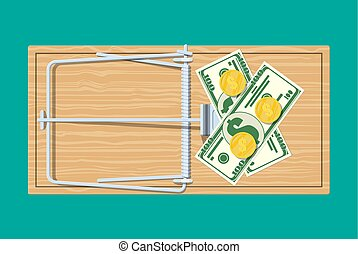 Wooden mouse trap with money