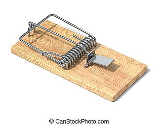 Wooden mousetrap 3D