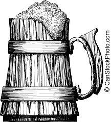 Wooden mug of beer with foam