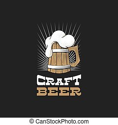 Wooden mug of beer with foam. Craft brewery logo.