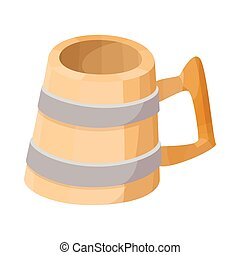 Wooden mug with beer cartoon icon