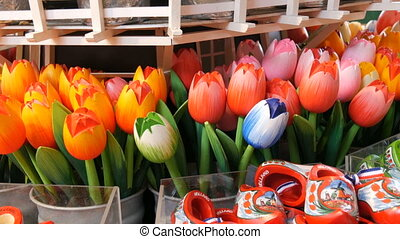 Wooden multi-colored tulips souvenirs and symbols of Holland