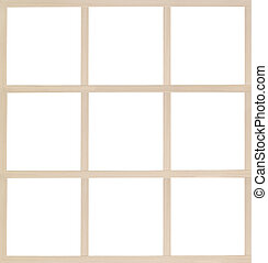Wooden multiframe isolated on white