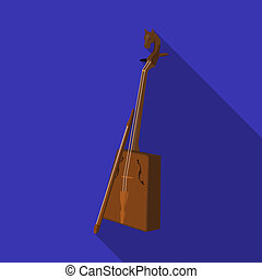 Wooden musical instruments of Mongol .National music of the Mongolian. Mongolia single icon in flat style bitmap symbol stock web illustration.