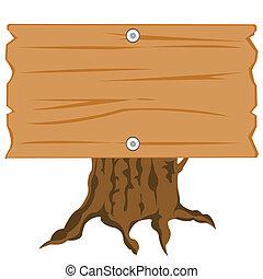Wooden nameplate on hemp - Illustration of the wooden shield...
