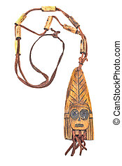 Wooden necklace with pendant of african woman isolated on white