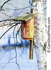 Wooden nesting box bird house on the tree outdoor. Winter.