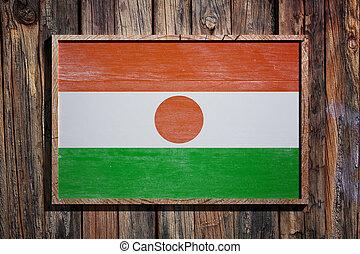 Wooden Niger flag - 3d rendering of Niger flag on a wooden...