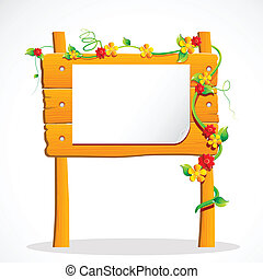 illustration of wooden notice board decorated with flower