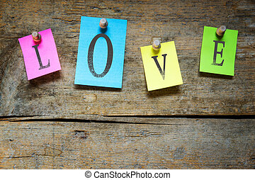 notice board with the word love