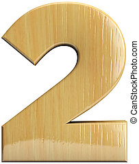 Wooden number 2 - Two