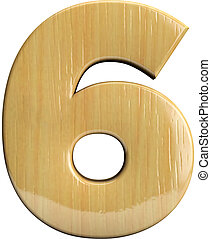 Wooden number 6 - Six
