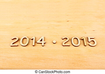 Wooden number in 2014 - 2015. New Year