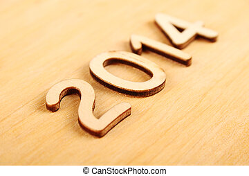 Wooden number in 2014. New Year