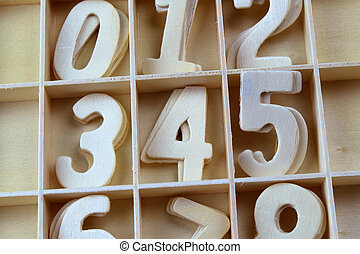 Wooden number letter alphabet on the wooden background