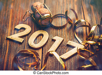 Wooden number of 2017 for new year celebrations.