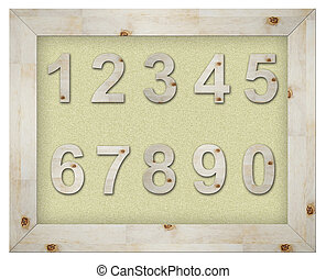 wooden number on board isolated