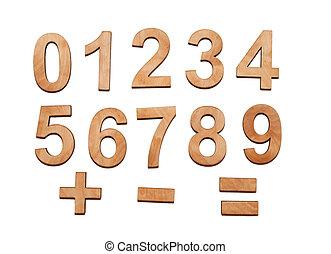 Wooden Numerals 0-9 on white