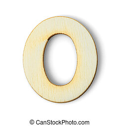 Wooden numeric 0 with  shadow on white
