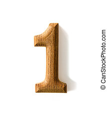 Wooden numeric 1 - Beautiful wooden numeric with shadow on...