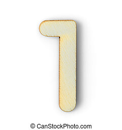 Wooden numeric 1 with  shadow on white