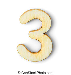 Wooden numeric 3 with  shadow on white