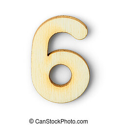Wooden numeric 6 with  shadow on white