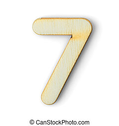 Wooden numeric 7 with  shadow on white