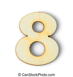 Wooden numeric 8 with  shadow on white
