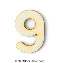 Wooden numeric 9 with  shadow on white