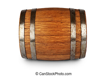 Wooden oak barrel isolated on white background
